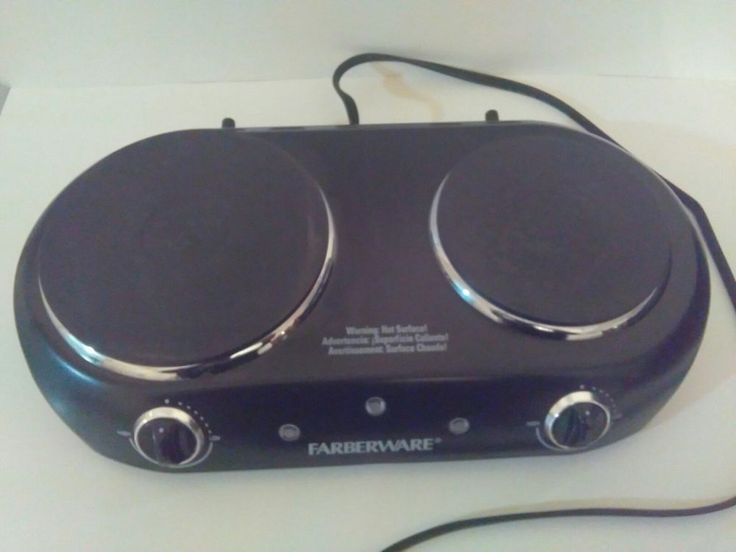 Farberware Hot Plate Double Burner Electric Portable Stove Black Adjustable Heat #Farberware