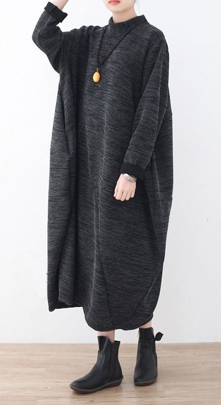 boutique dark gray knit dresses Loose fitting asymmetrical pullover vintage high neck dress