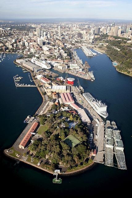 South westerly aerial of Garden Island, Fleet Base East, Sydney, NSW. by tormentor4555, via Flickr