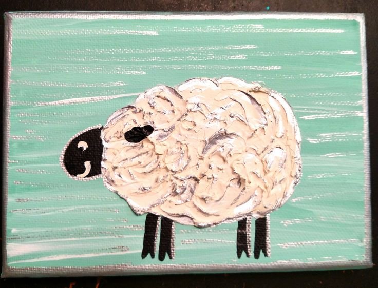 Small, nursery, painting, mint green, sheep, baby by LittleSilverArt on Etsy
