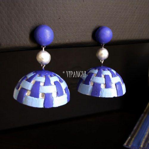 Terracotta Jhumka - Basket Jhumka with 3D pattern