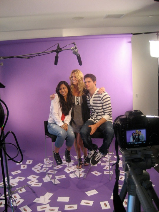"""True Jackson, VP"" stars, Ashley Argota and Robbie Amell, take a break for a quick pic with Fanlala's Jill WIlderman on set of their Fanlala 1 to 1"