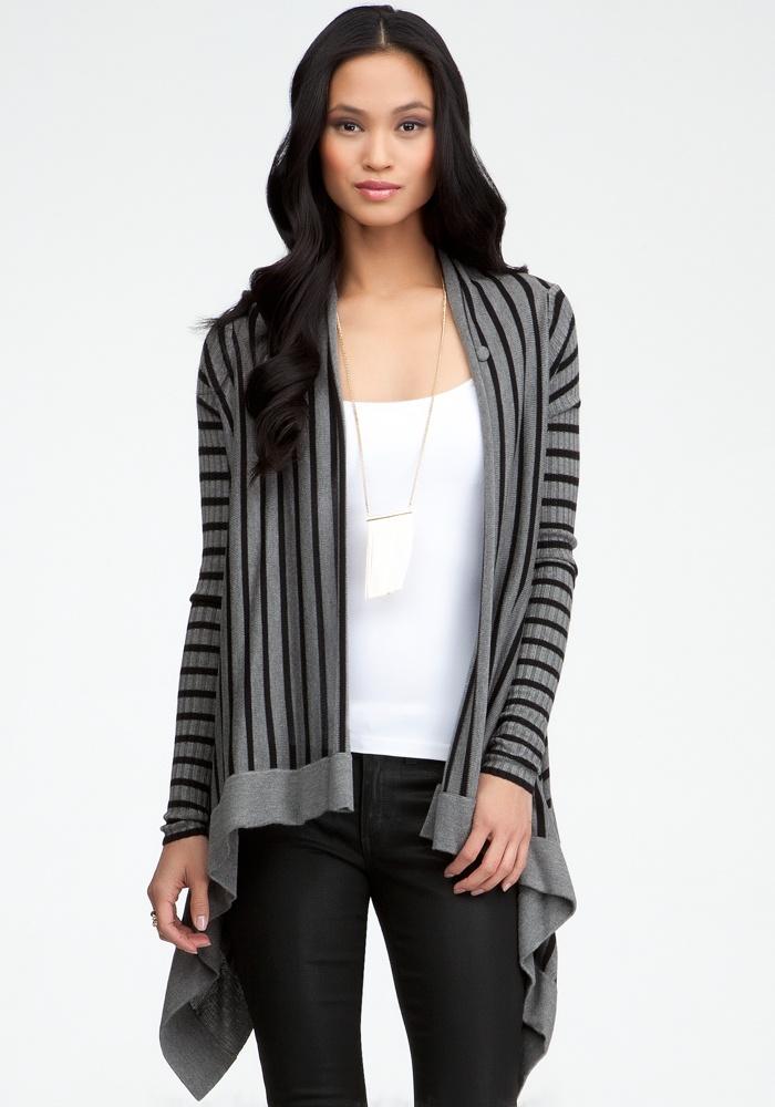 Crossover Drape Stripe Cardigan - Online Exclusive - Black/Grey - S
