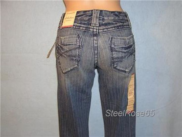 Aeropostale Junior Girls Chelsea Boot Cut Pin Striped Blue Jeans Sz 00 R