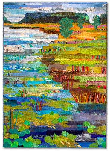 """MARSH #19: WILLOW CREEK by Sue Benner  2006 - 40"""" x 29""""  dye and paint on silk and cotton, found fabrics, fused, machine quilted"""