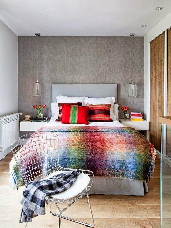 Manta colorida... um destaque no quarto