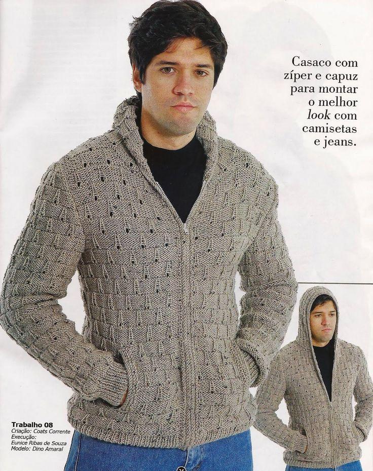 ARTESANATOS PARA COMEMORAR: CASACO DE TRICO MASCULINO COM CAPUZ E ZIPER