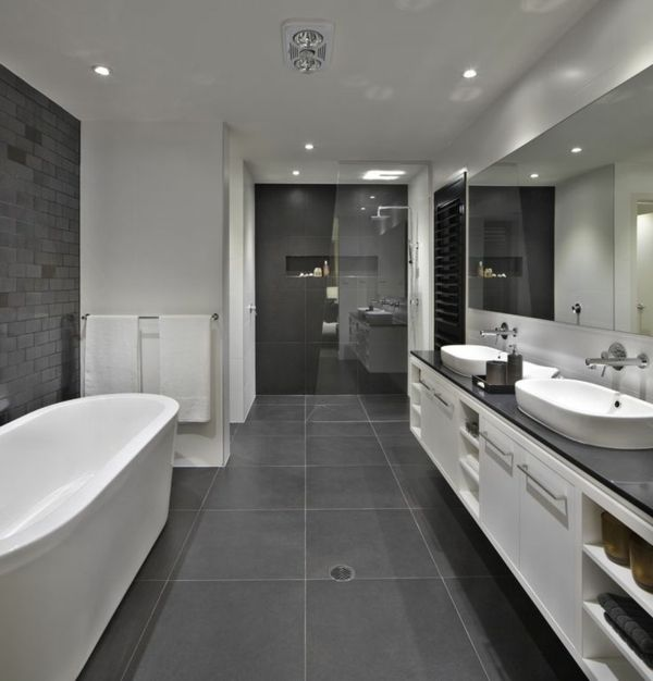 en gray bathroom, a spacious bathroom with all comforts