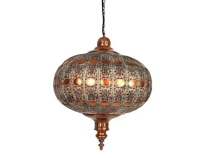 Hanglamp koper kleur vintage met groene accenten erin een echte chique ronde metalen lamp met betoverende patronen erin.