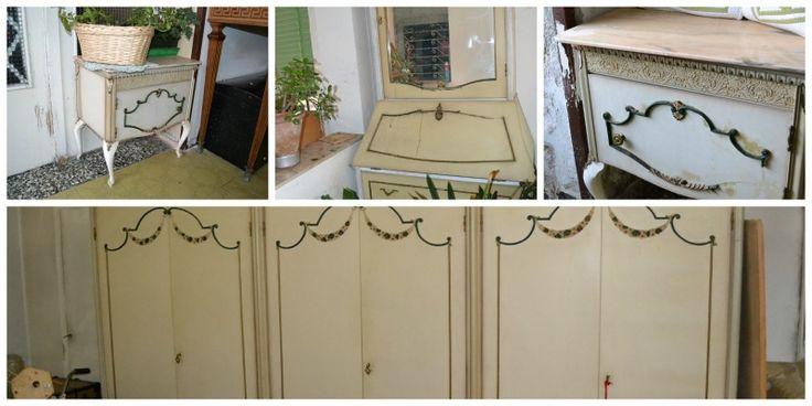 Camera bianca da restaurare - 2 comodini, armadio a 6 ante e consolle