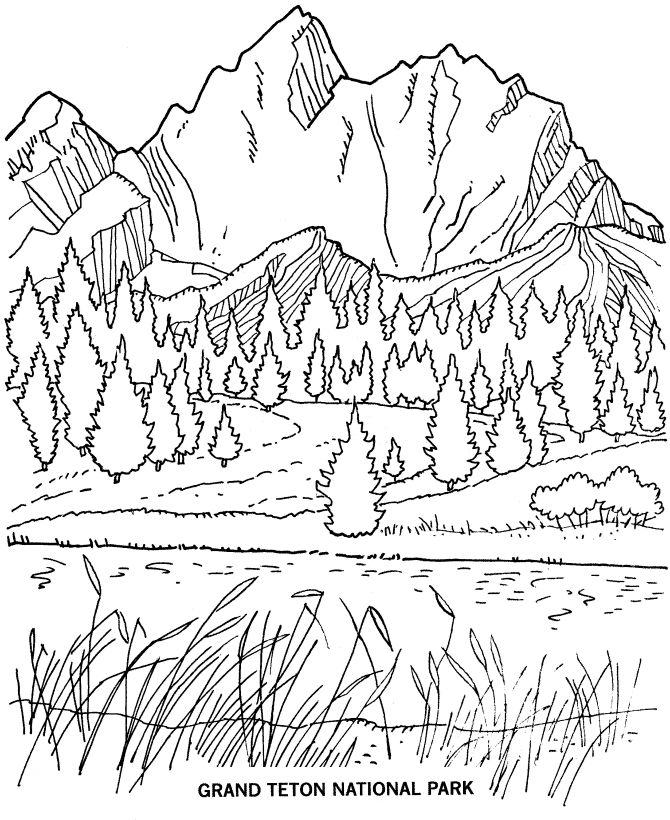 grand teton national park coloring page - Mountain Landscape Coloring Pages