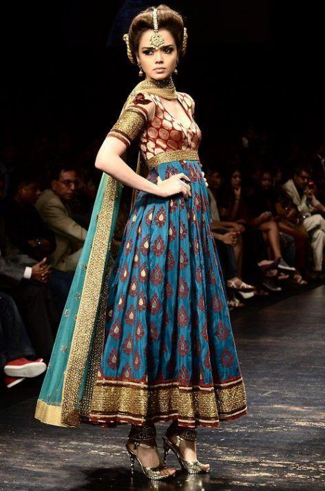 Noor Boutique Anarkali Frocks 2012 For Women brocade pattern salwar kameez Fashion show ramp catwalk indian silk Banarasi