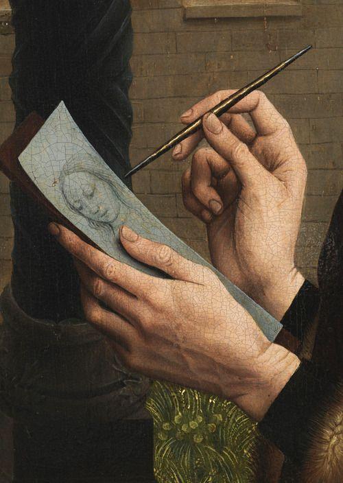 after Rogier van der Weyden, Saint Luke drawing the Madonna (detail), ca. 1491-1510