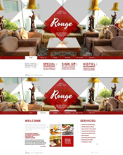 Template 43595 - Rouge Hotel Website Template