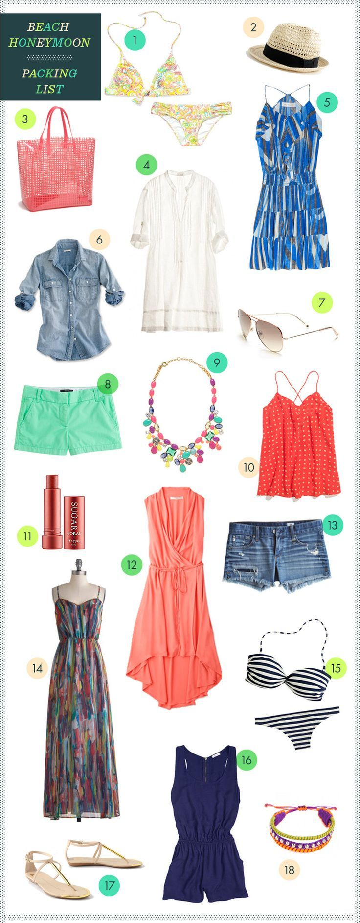REVEL: Beach Honeymoon Packing List..... I have no intention in going on a honeymoon anytime soon, but this stuff is adorable!