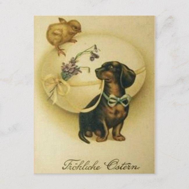 Vintage Retro Art German Egg Dachshund Easter Holiday Postcard