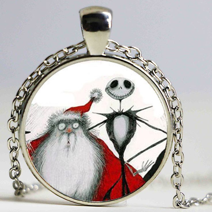 Jack Skellington Necklace: Nightmare Before Christmas. Jack Skellington Santa. Picture Pendant. Art Pendant #Affiliate