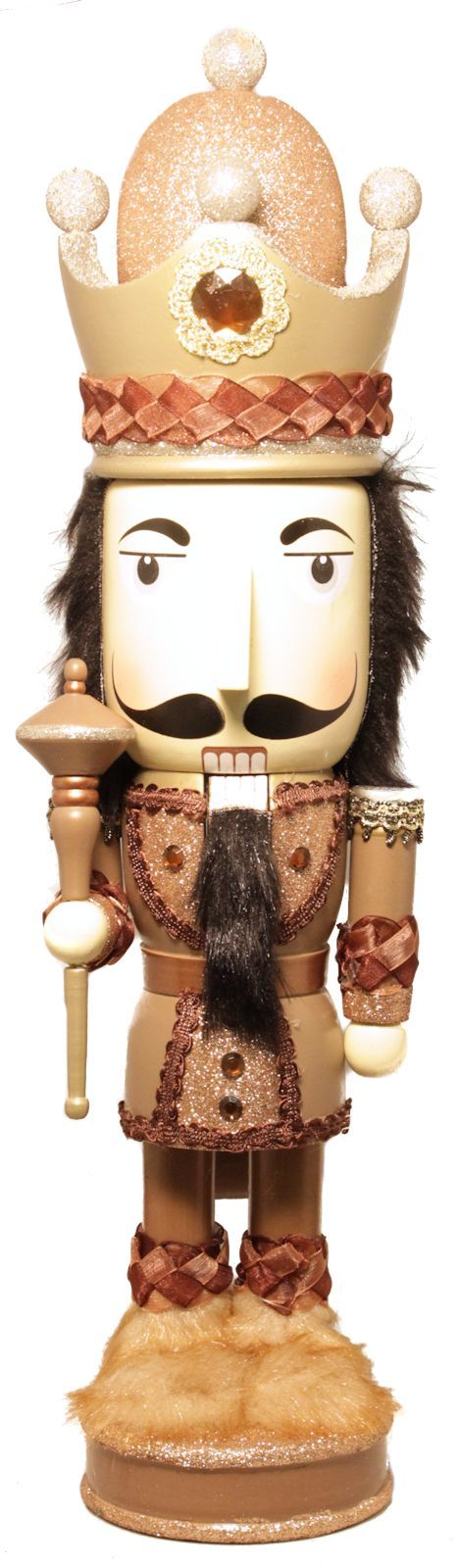 Large Faced Gold Glitter King Wearing Crown 18 Inch Wooden Christmas Nutcracker