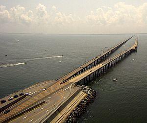 Aerial view of Chesapeake Bay Bridge-Tunnel