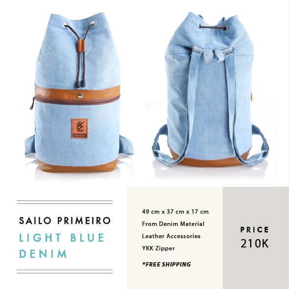 SAILO PRIMEIRO LIGHT BLUE DENIM  IDR 210.000   FREE SHIPPING ALL OVER INDONESIA   Dimension:  49 cm x 37 cm x 17 cm    Material:  Water Repellent Canvas Faux Leather Accessories  YKK Zipper   #GoodChoiceforGoodLooking
