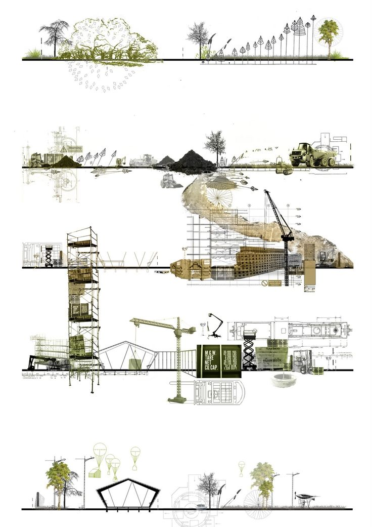Interesting sections - Architectural drawing / rendering / diagram