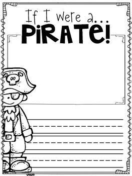 """Pirate activities: """"If I were a pirate..."""" FREE writing prompt worksheet."""