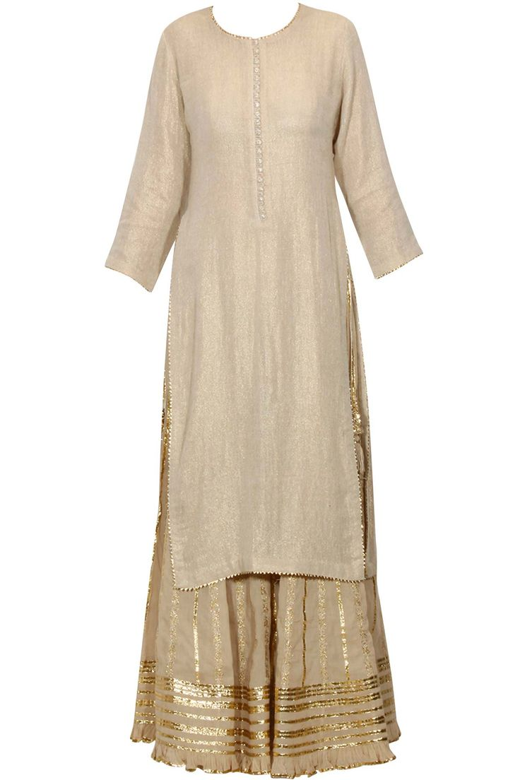Beige and gold gota patti work kurta and sharara set available only at Pernia's Pop Up Shop.