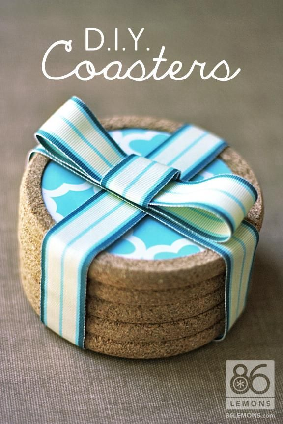 DIY Cork + Shelf Liner Coasters