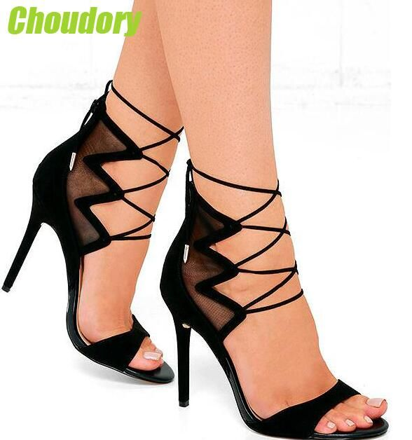Summer Hot Black Mesh Patchwork Women Open Toe Sandals Ankle Lace Up Ladies Gladiator High Heel Zipper Back Dress Shoes Stiletto