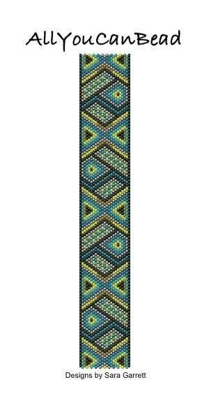 PATTERN ONLY. Create this beautiful peyote cuff bracelet.  Delica Beads. Odd count with 6 bead colors. 23 bead columns by 100 bead rows. 1 3/16