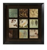 Natural Elements Nine Panel Wall Art. Get a 9- Panel effect with one piece. The soft soothing colors are Neutral enough for any Decor, and the Black background and frame. Add a clean sophisticated feel.