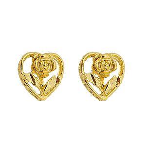 Brinco folheado a ouro em forma de coração e flor
