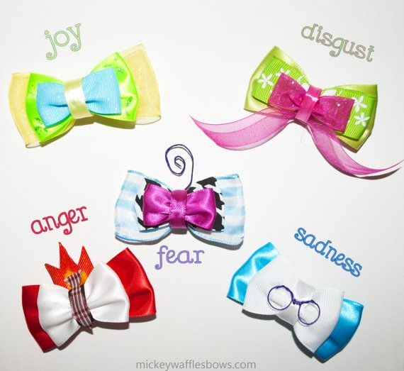 A collection of mini bows inspired by the emotions of Inside Out featuring Sadness, Joy, Fear, Disgust, and Anger! Each mini bow is approx. 2 1/2 inches each.  Choose one character for $3 or collect the whole set for $13!   The for magicband band option will be attached to a small, stretchy band that can be used to wear on your Magic Band for Walt Disney World.   ❧ Made from quality fabric ribbon with lots of care!  ❧ No Slip Grip is an optional addition onto the clip of your choice and ...