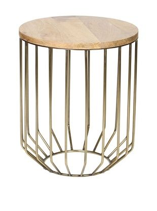 60% OFF Prima Design Source Wire-Framed Accent Table with Tapered Base, Antique Brass