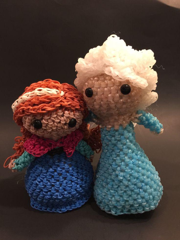 Disney's Frozen Elsa & Anna Rubber Band Figure by BBLNCreations on Etsy Loomigurumi Amigurumi Rainbow Loom