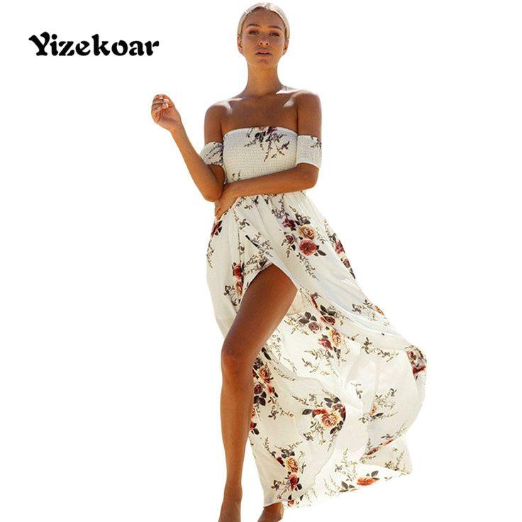 Yizekoar 2017 zomer jurken casual lange vintag hoge split gerookte off schouder witte bloemen maxi dress DL61553 vestidos mujer #Affiliate