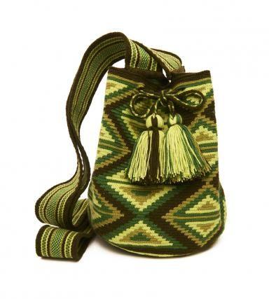 Green Cotton Diamond Riohacha Mochila Bag