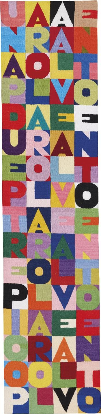 "Alighiero Boetti - 1989 ""A word to the wind; a few words to the wind; three words to the wind, the wind 100 words""  Embroidery.  91 × 21.5 cm"