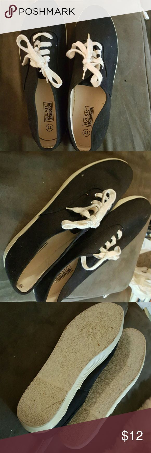 Black shoes Black canvas  shoes Worn only once  Too big  Great for every day use basic edition  Shoes Sneakers