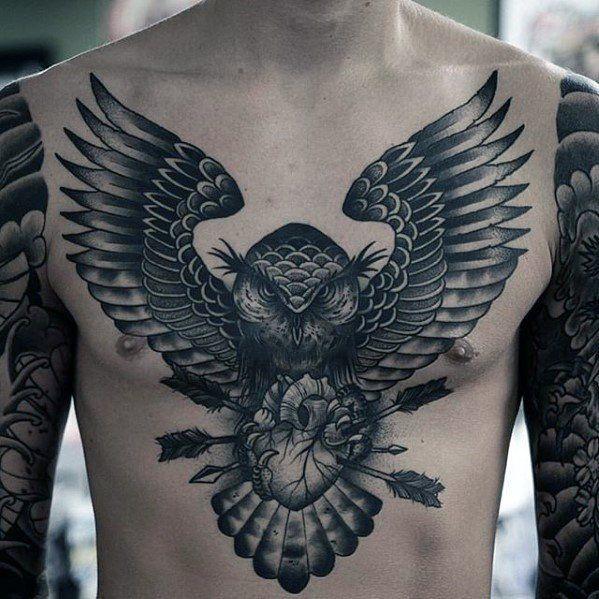 60 Epic Tattoo Designs For Men Legendary Ink Ideas Owl Tattoo Chest Tattoos Epic Tattoo
