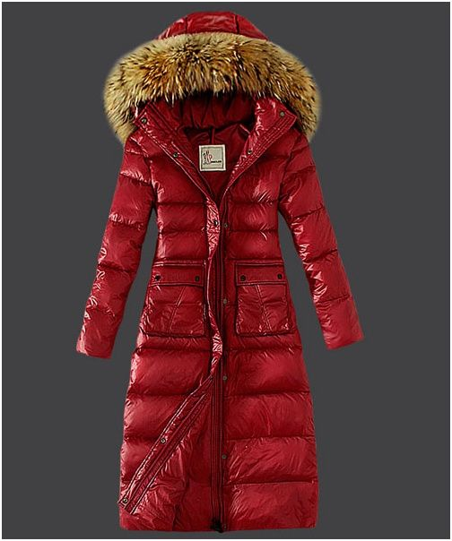 new moncler coats - Moncler Down Coat Featured Women Slim Windproof Red