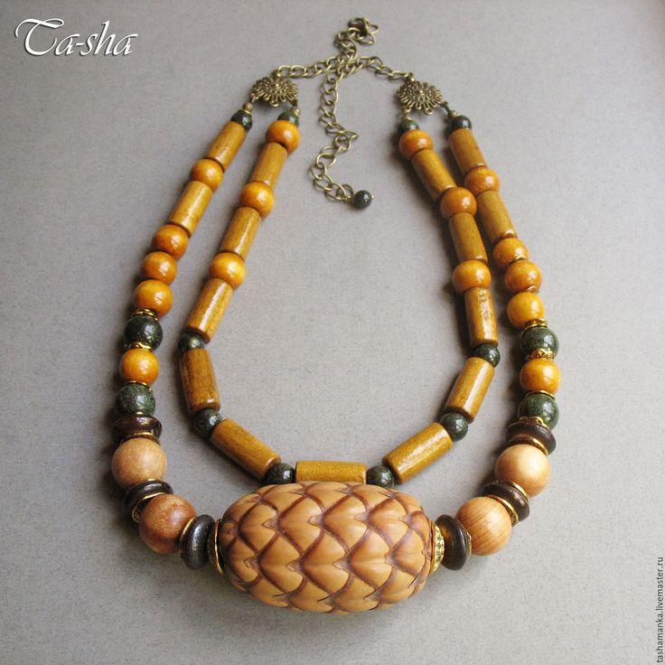 """Купить """"Мадагаскарский орех"""" этнические бусы, колье из дерева желтые зеленые - бусы, бусы из камней  etno style_ ethno necklace_ethno jewelry"""