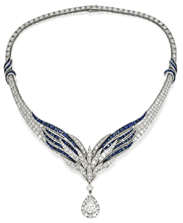 PLATINUM, SAPPHIRE AND DIAMOND NECKLACE BY E.PEARLGraduation Design, Design Sets, Pearls, Diamonds Weigh, Jewelry, Diamond Necklaces, Bling Air Force Necklaces, Diamonds Necklaces, Sapphire Necklaces