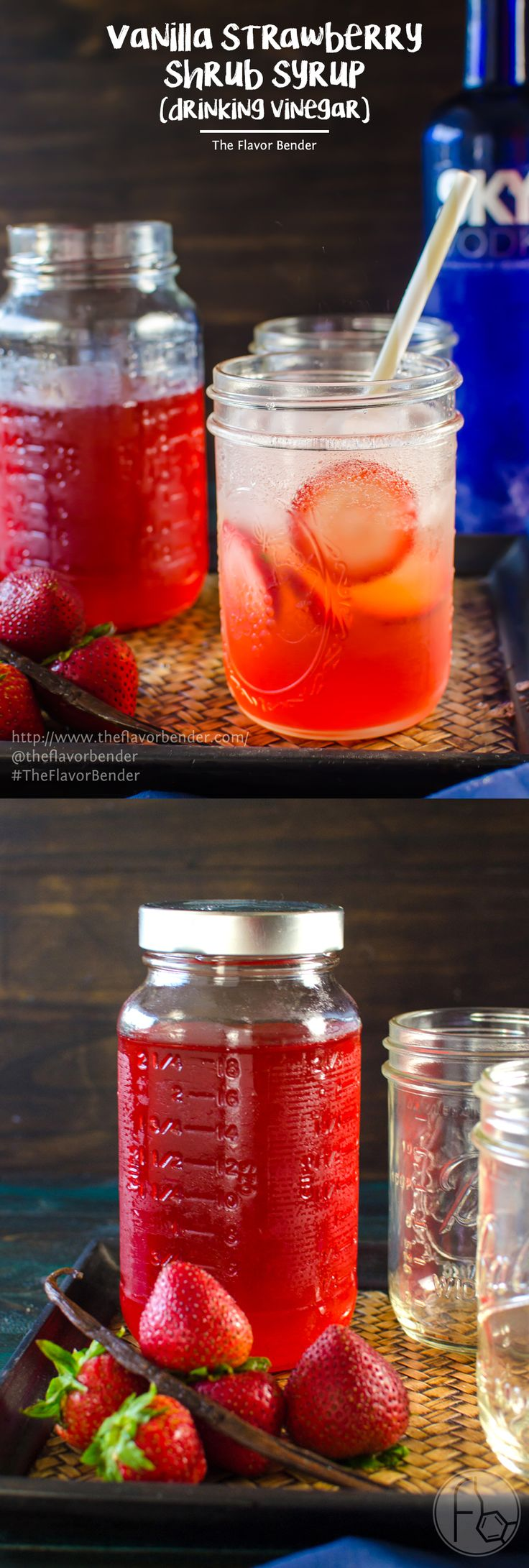 Vanilla Strawberry Shrub Syrup - Make the most of your seasonal strawberries with this delicious syrup! Overripe strawberries, apple cider vinegar, sugar and vanilla are all you need for this bright, pick-me-up drinking vinegar recipe for a hot summer day! SAVE to repin. CLICK to get the recipe. #TheFlavorBender
