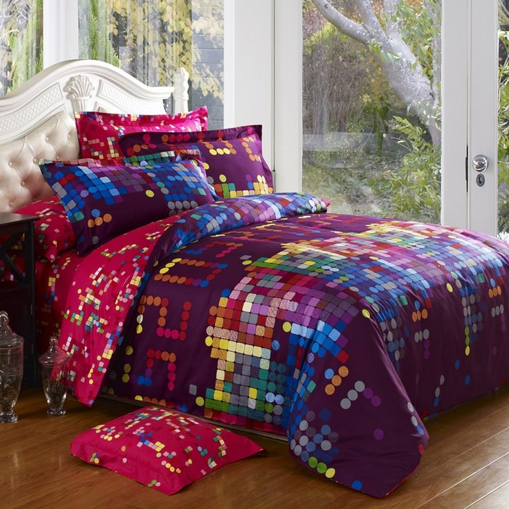 Deep eggplant purple blue and hot pink colorful polka dots full queen size unique adults for Full size bedroom sets for adults