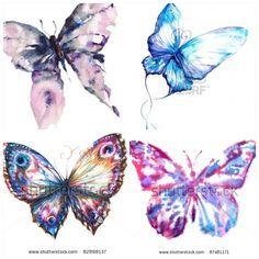 Aquarell-Schmetterlings-Tätowierungen | Aquarell Schmetterlinge für zukünftige Tätowierung