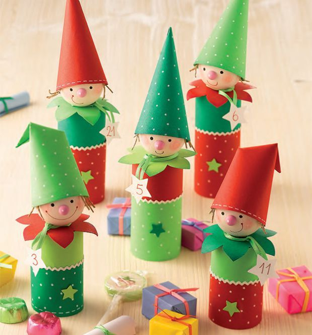 Advent calendar elves! Could make them myself them using toilet roll tubes and coloured paper!