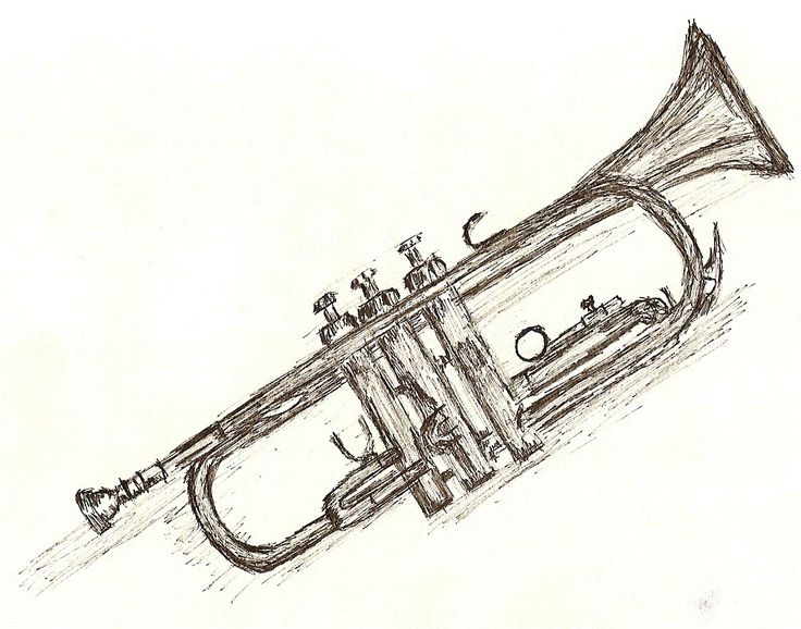 inked drawing of a trumpet its not perfect but i like it trumpet