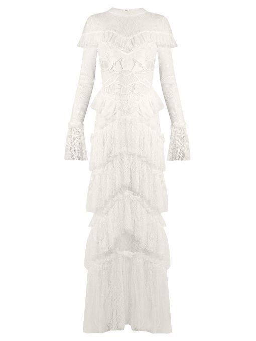 Jonathan Simkhai Tiered-ruffle guipure-lace dress