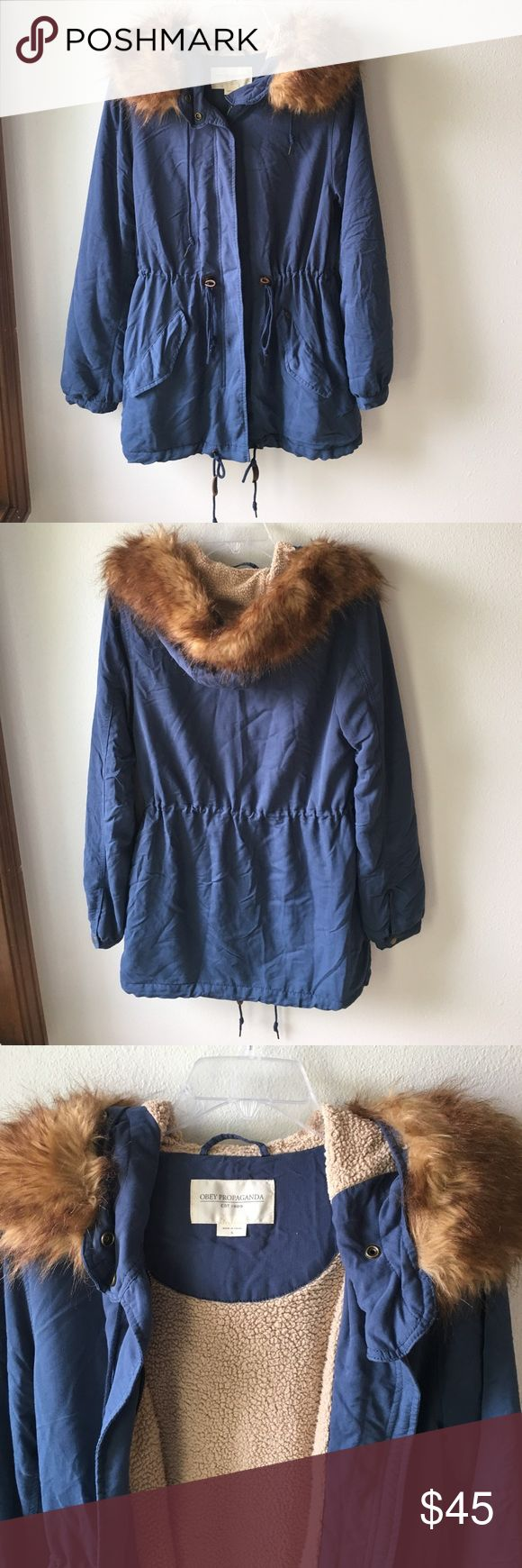 Obey Knightsbridge parka Soft and cozy blue parka by Obey Propaganda. Has really soft fleece on the inside that keeps you nice and warm. Faux fur on hood is removable. ❤💁🏼 Obey Jackets & Coats Utility Jackets